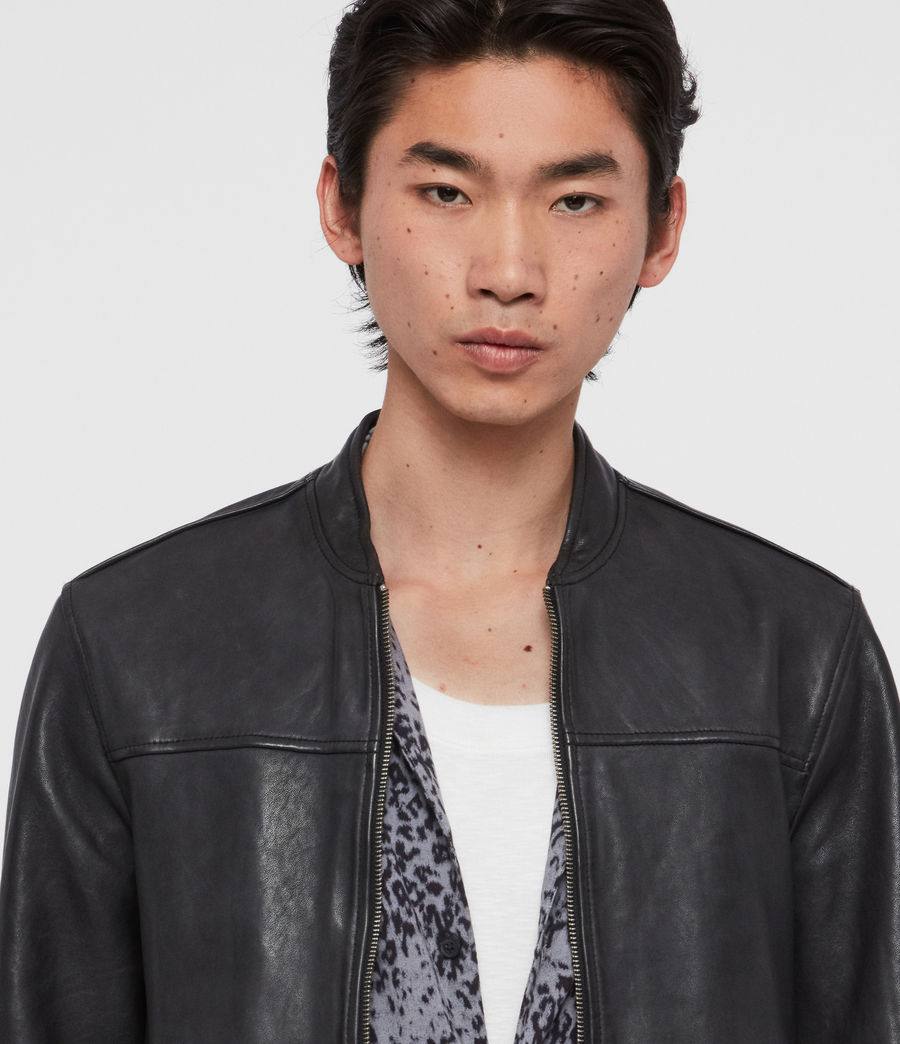 Mens Marsh Leather Jacket (black) - Image 2