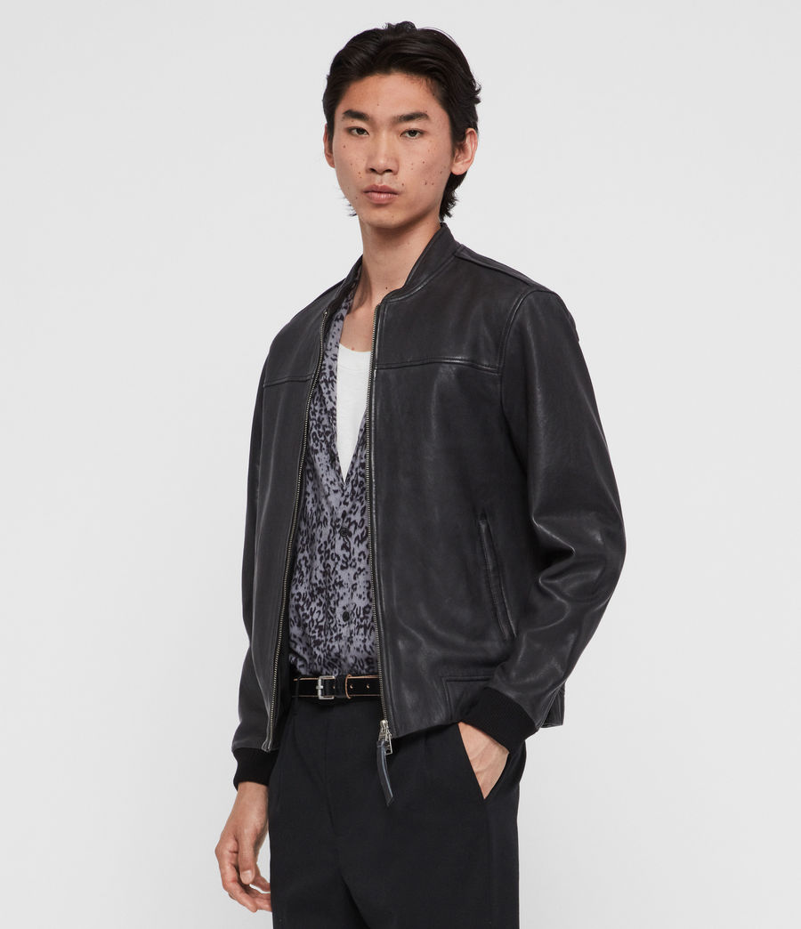 Mens Marsh Leather Jacket (black) - Image 3