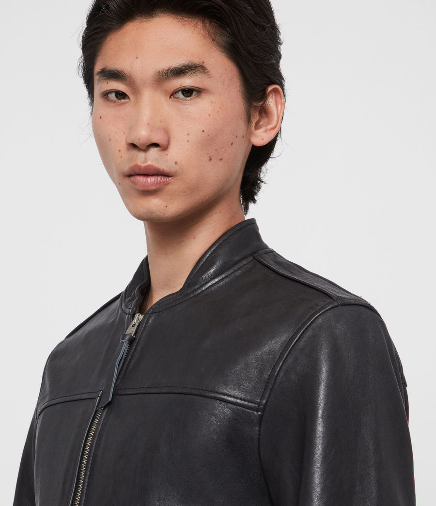 Mens Marsh Leather Jacket (black) - Image 5