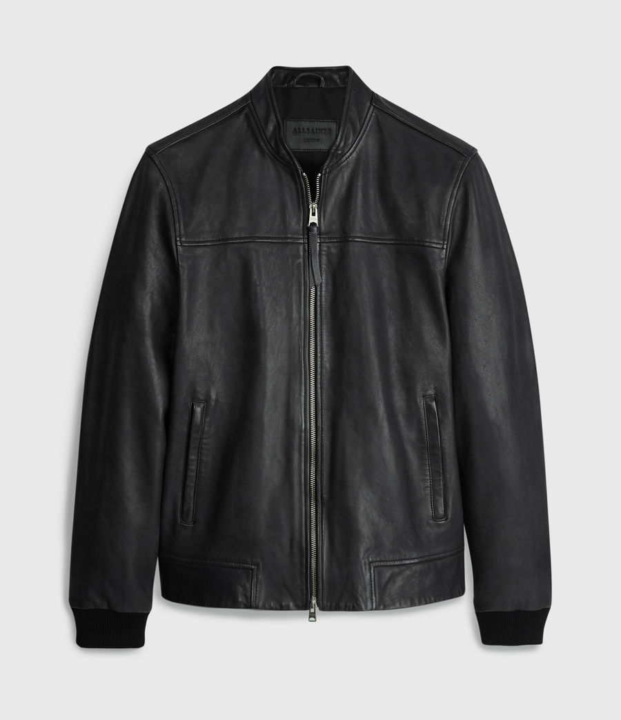 Mens Marsh Leather Jacket (black) - Image 8