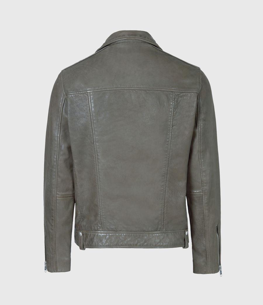 Men's Milo Leather Biker Jacket (khaki_green) - Image 3