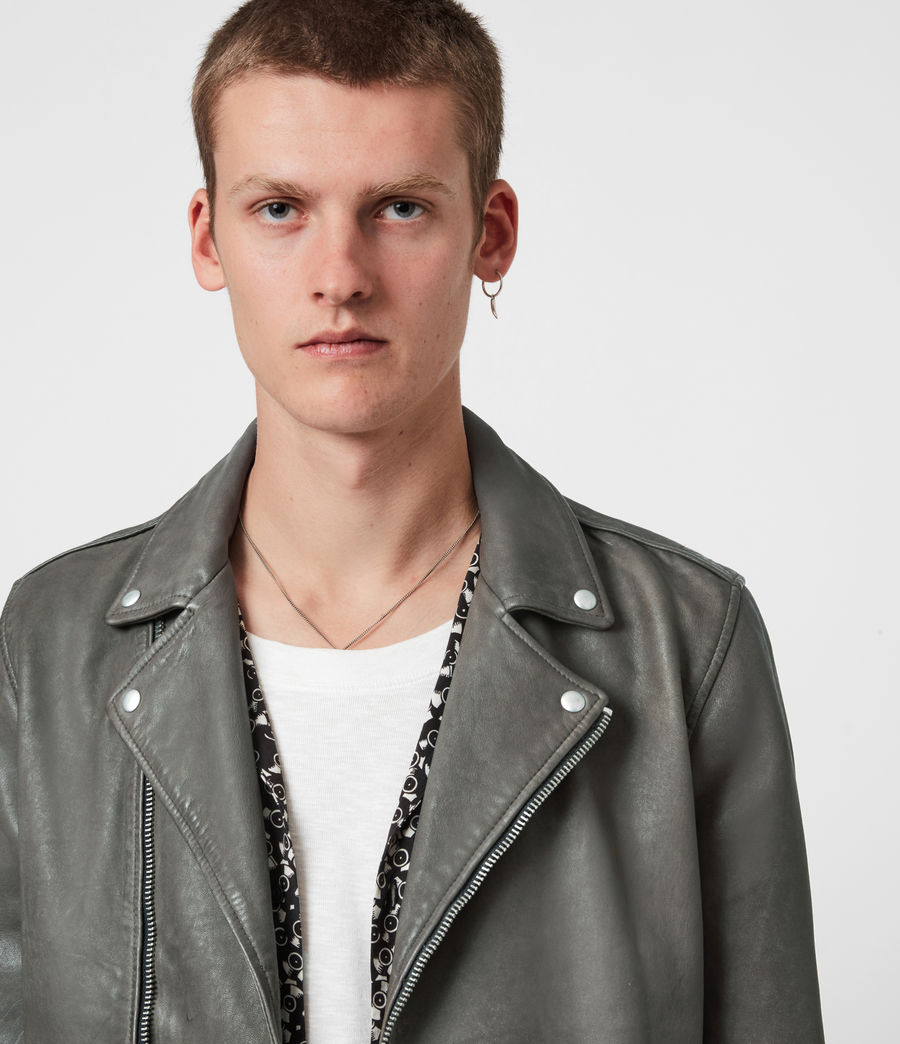 Men's Milo Leather Biker Jacket (khaki_green) - Image 4