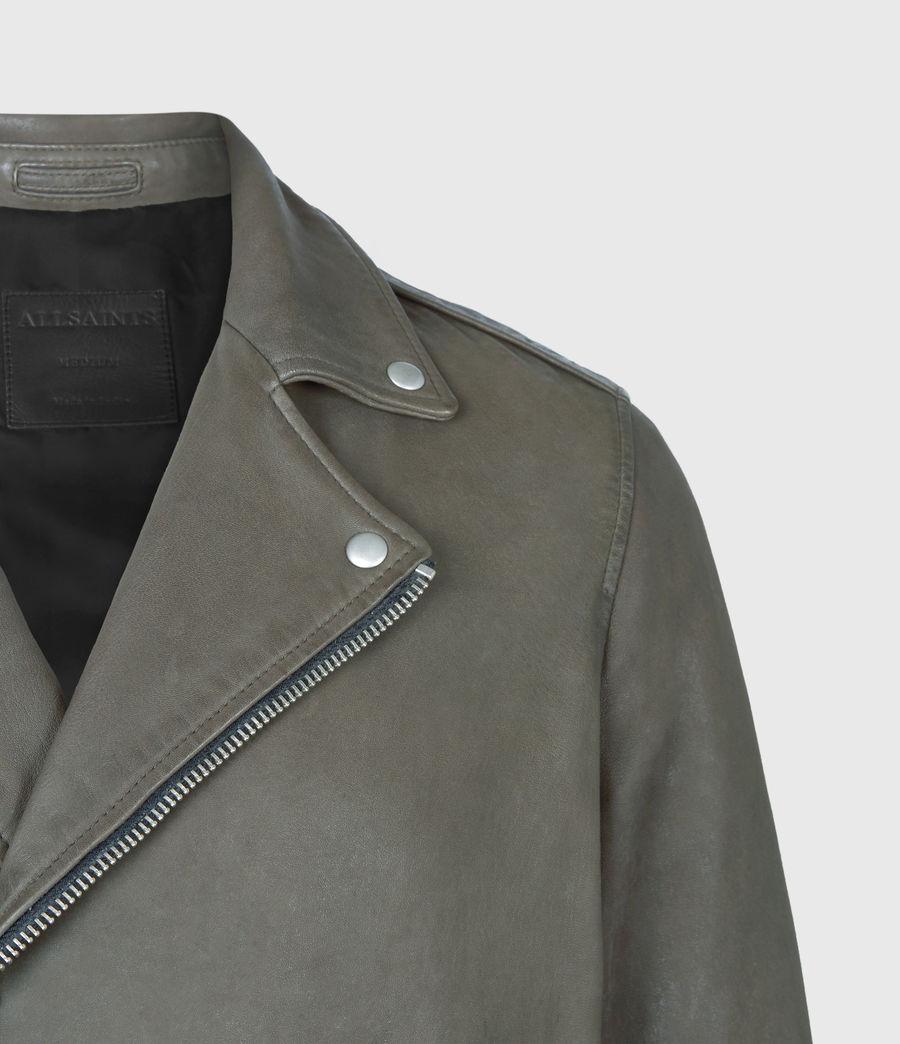 Men's Milo Leather Biker Jacket (khaki_green) - Image 5
