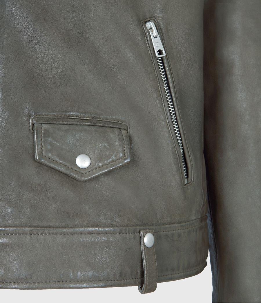 Men's Milo Leather Biker Jacket (khaki_green) - Image 6