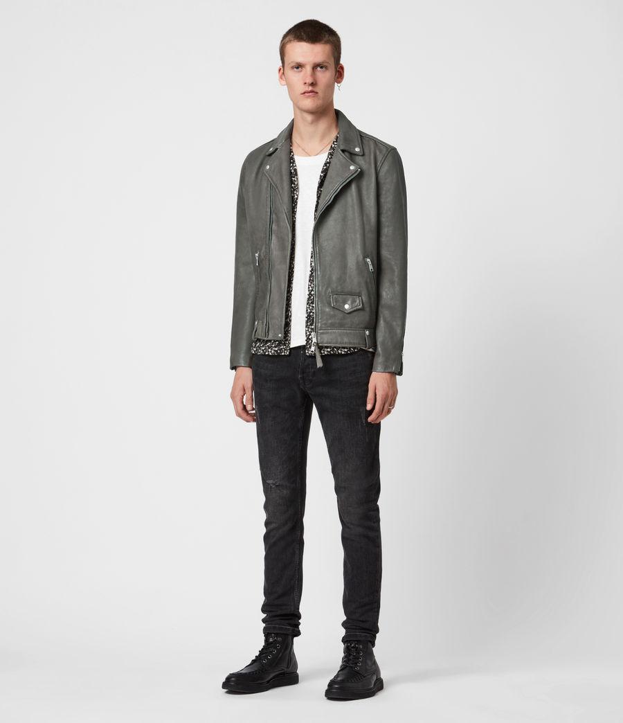 Men's Milo Leather Biker Jacket (khaki_green) - Image 7