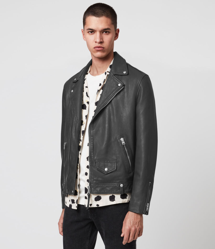 Hombres Milo Leather Biker Jacket (anthracite_grey) - Image 4