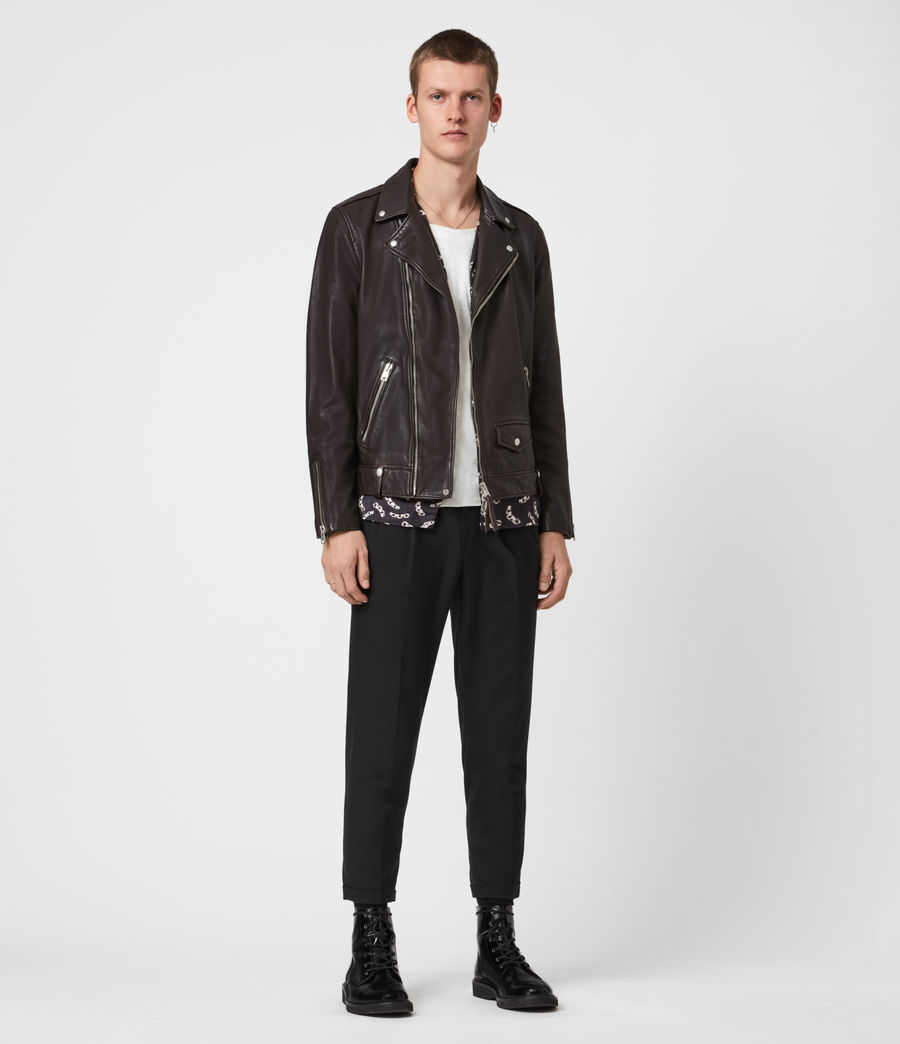 Men's Milo Leather Biker Jacket (oxblood_red) - Image 4