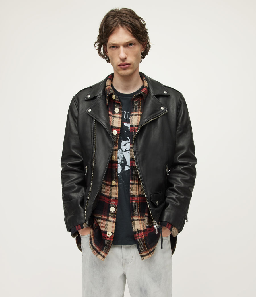 Mens Milo Leather Biker Jacket (black) - Image 1