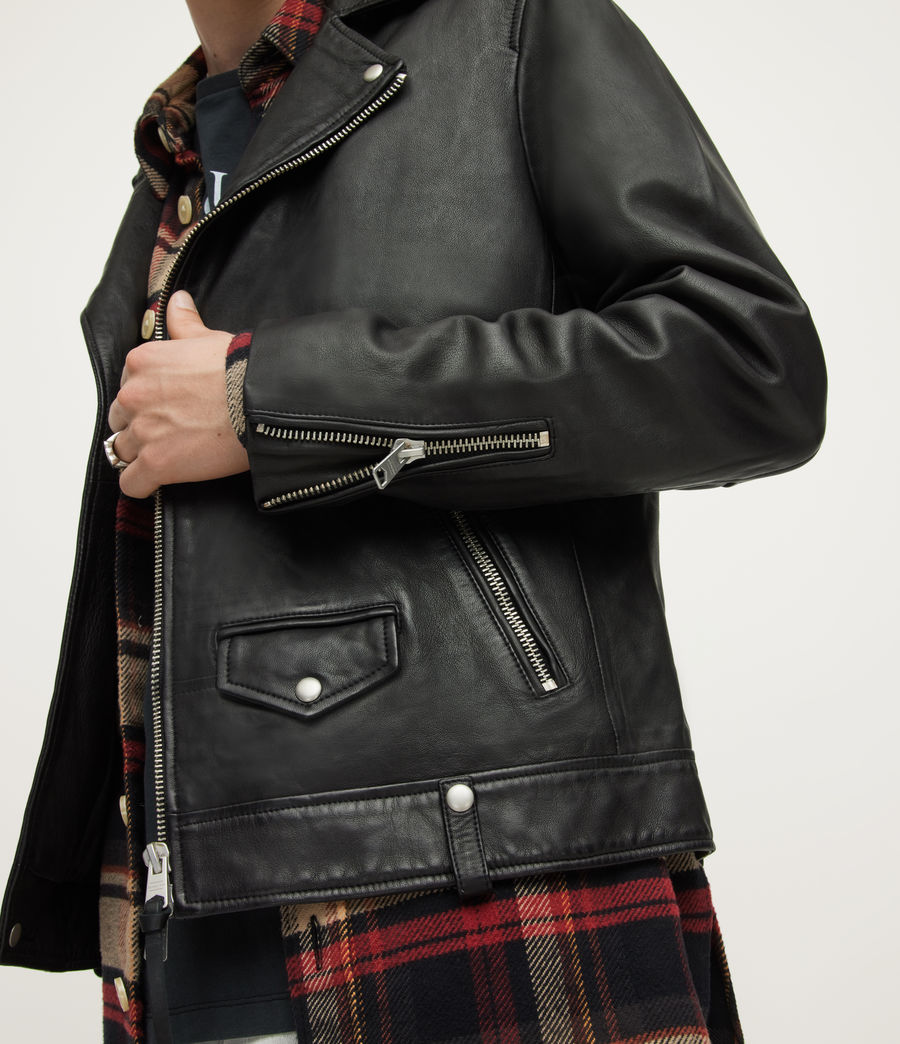 Mens Milo Leather Biker Jacket (black) - Image 3