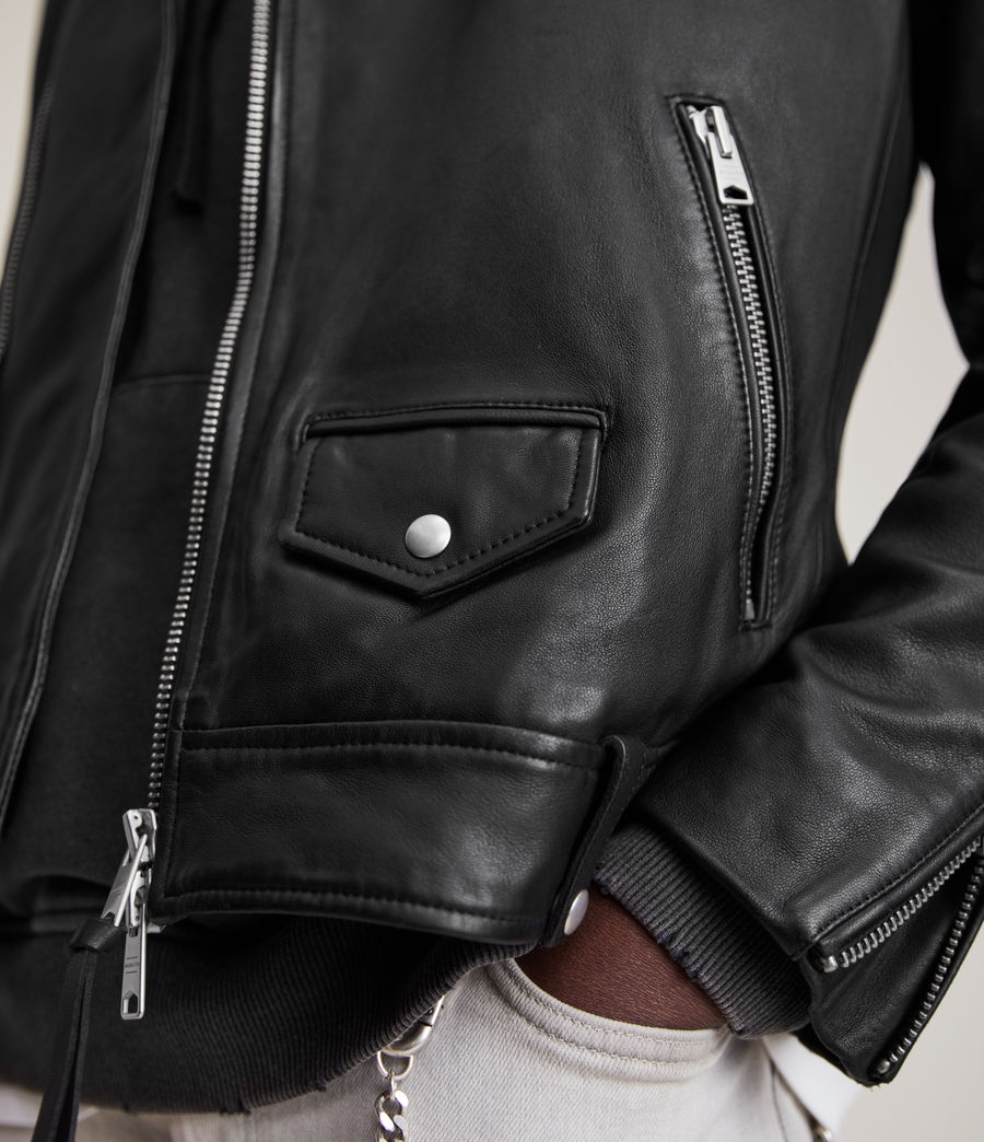 Men's Milo Leather Biker Jacket (Black) - Image 4