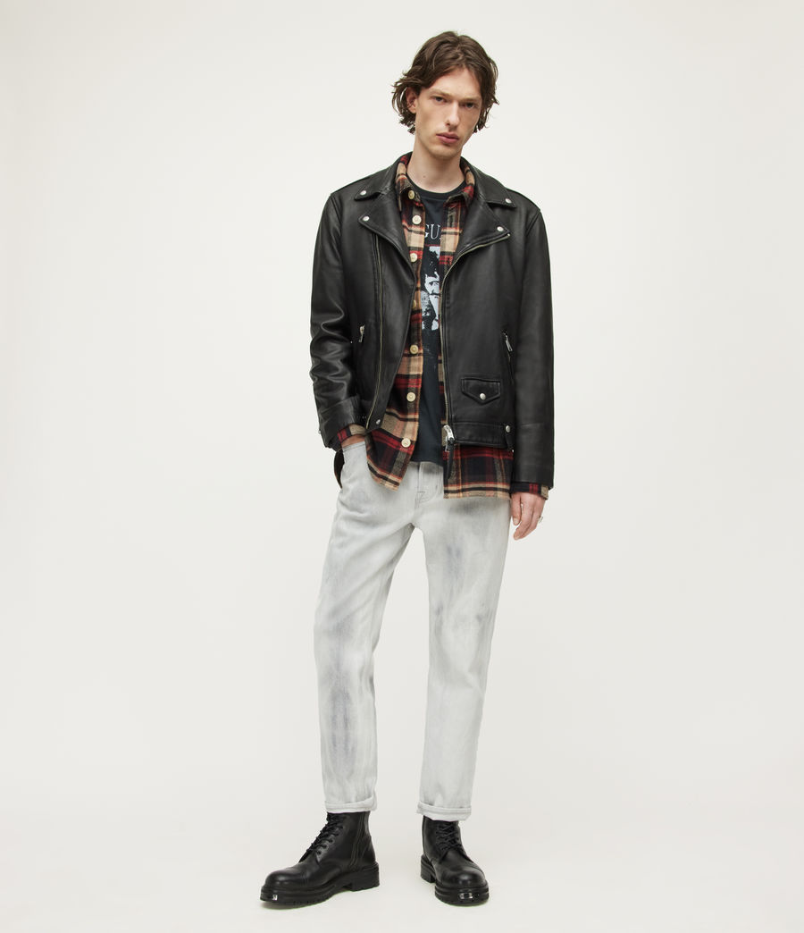 Mens Milo Leather Biker Jacket (black) - Image 4