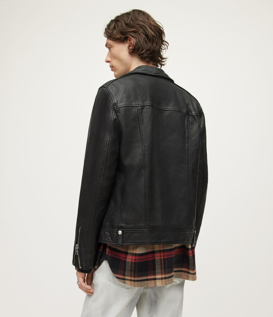 Men's Milo Leather Biker Jacket (Black) - Image 7