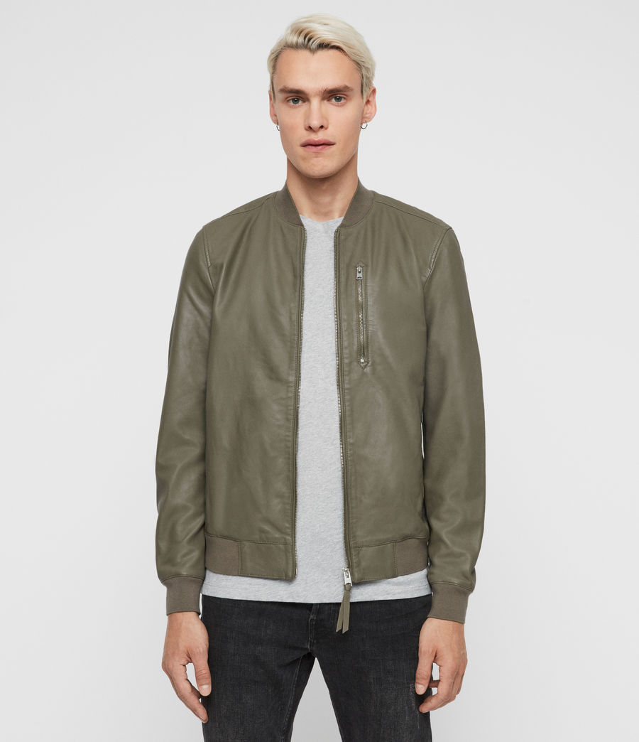 Mens Kino Leather Bomber Jacket (warm_grey) - Image 1