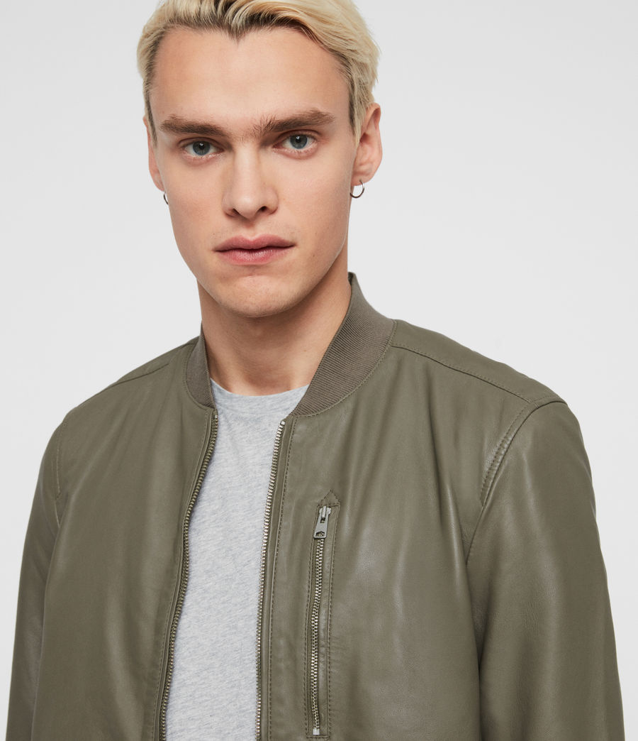 Men's Kino Leather Bomber Jacket (black) - Image 2