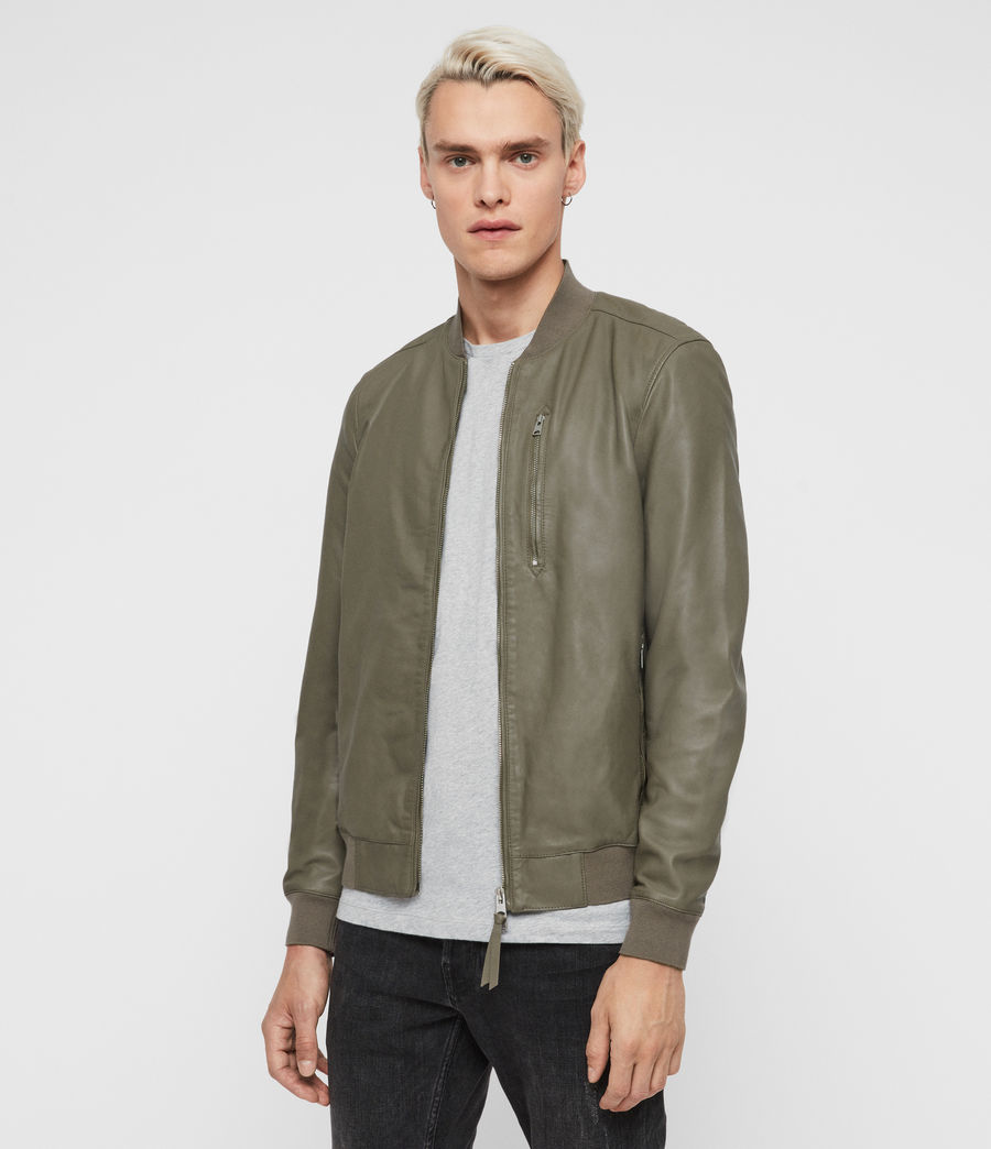 Mens Kino Leather Bomber Jacket (warm_grey) - Image 3