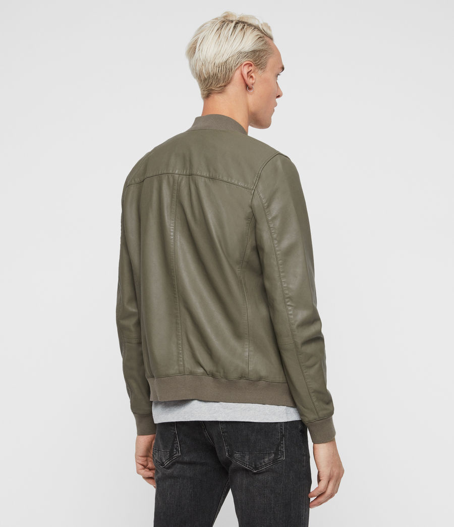 Mens Kino Leather Bomber Jacket (warm_grey) - Image 5