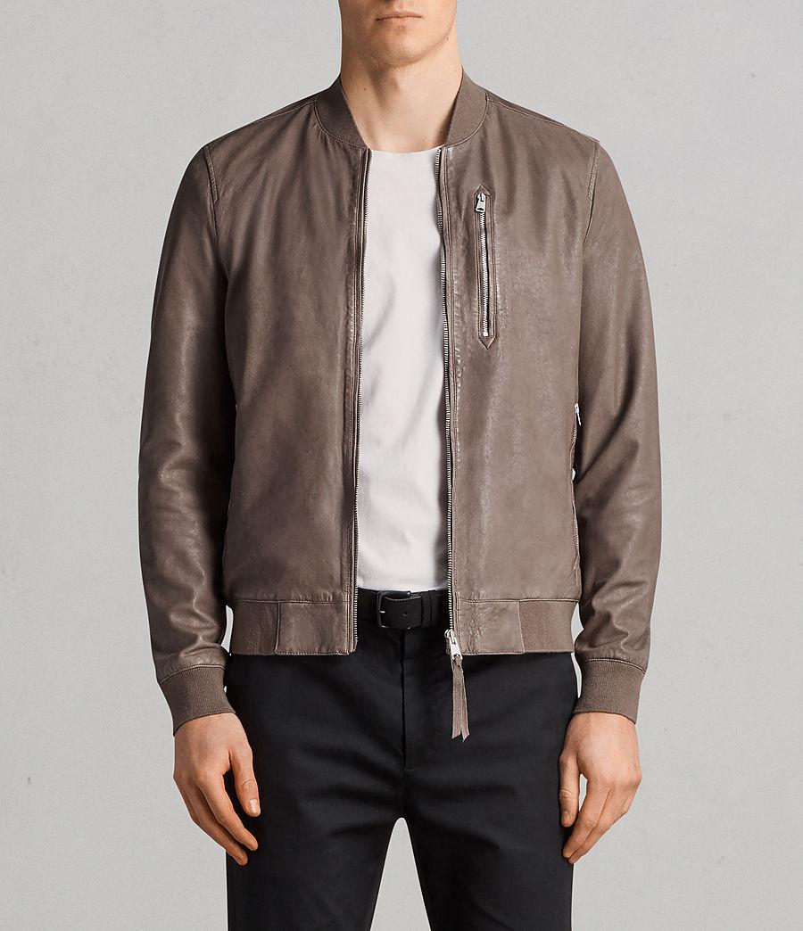 Mens Kino Leather Bomber Jacket (gravel) - Image 1
