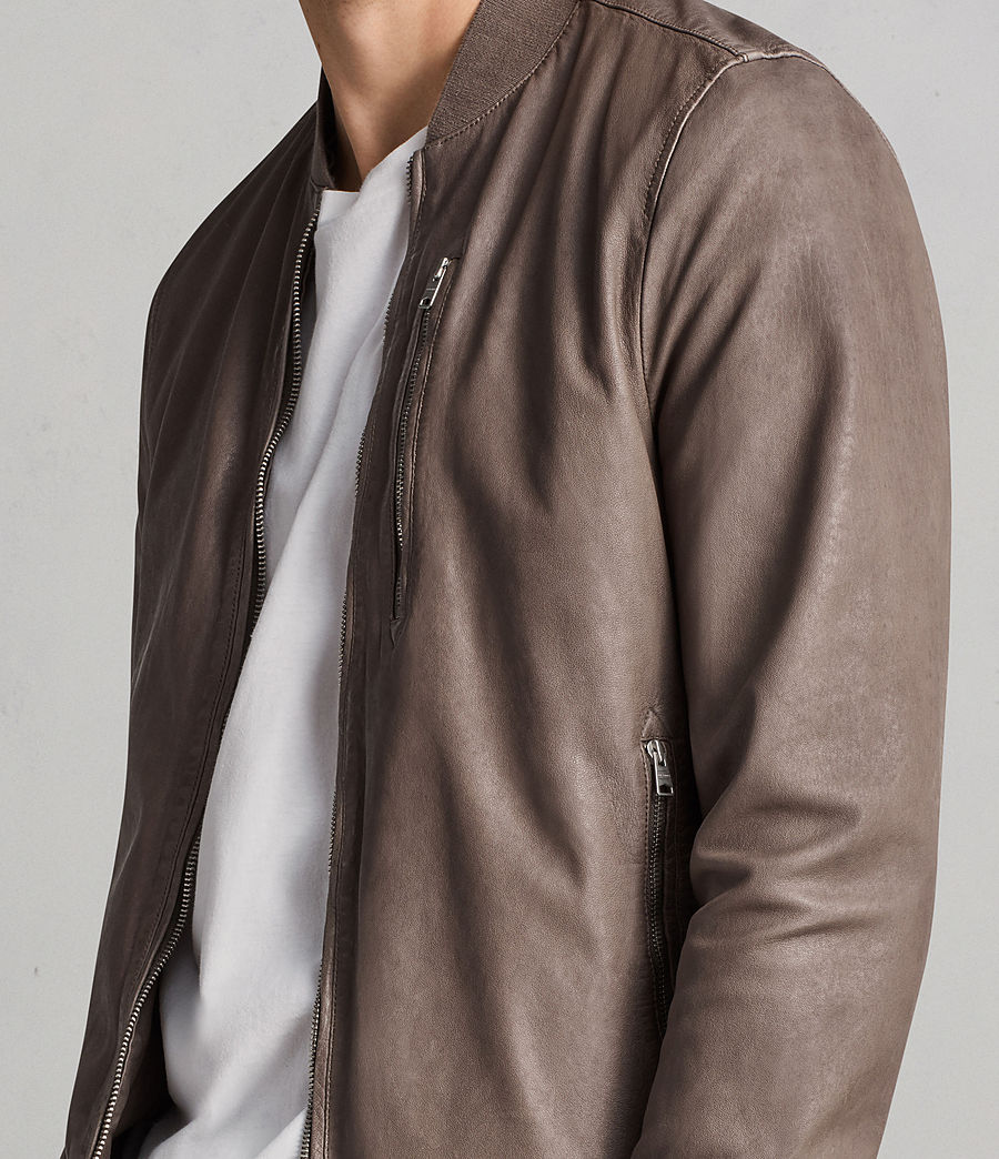 Men's Kino Leather Bomber Jacket (gravel) - Image 2