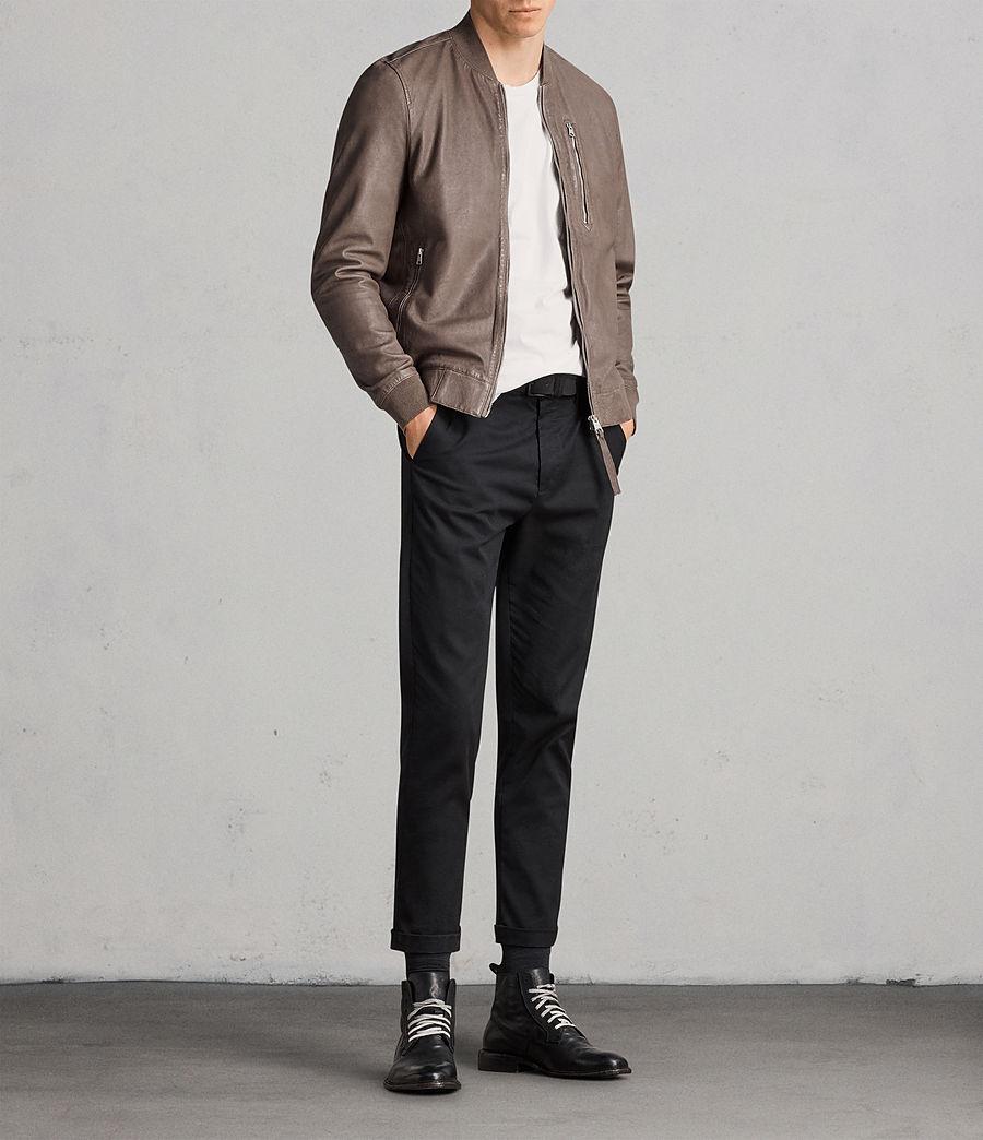 Men's Kino Leather Bomber Jacket (gravel) - Image 3
