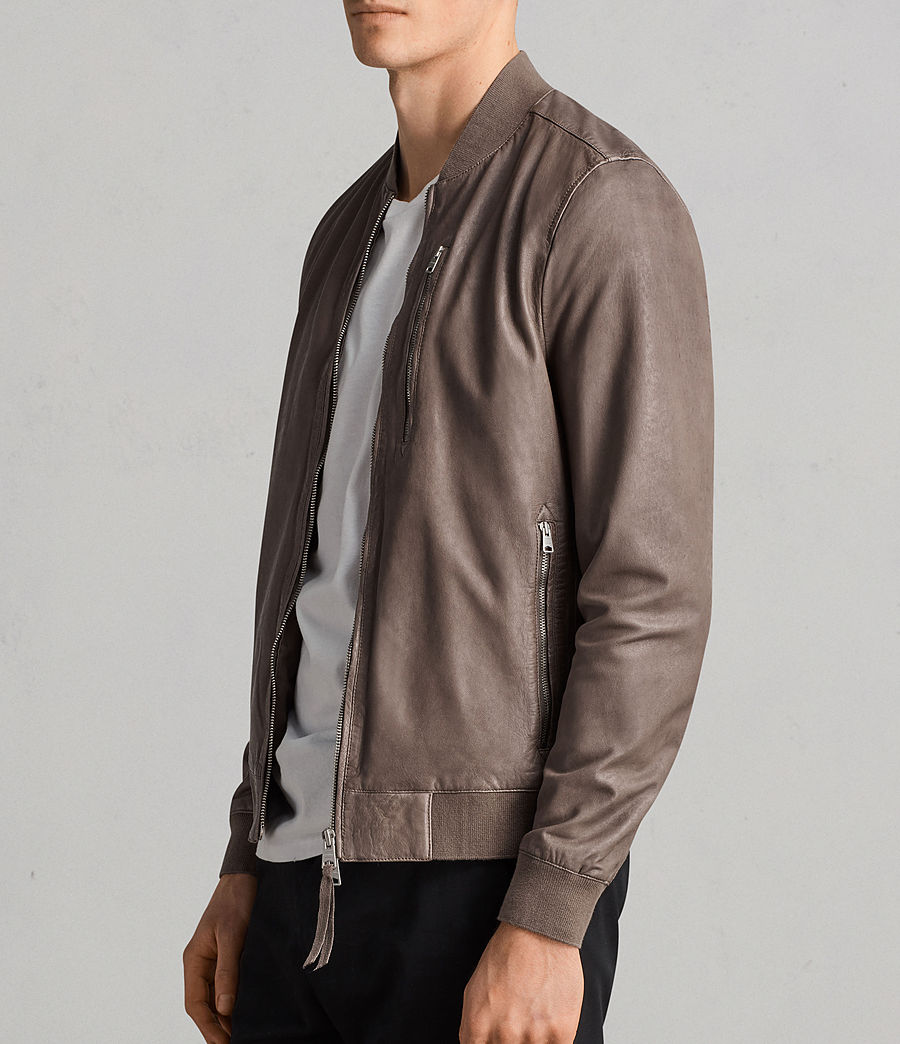 Mens Kino Leather Bomber Jacket (gravel) - Image 4