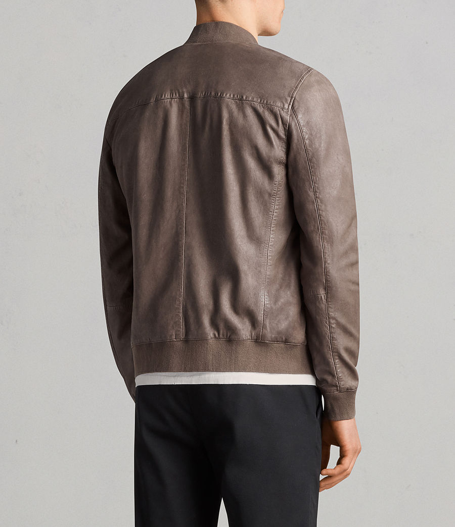 Mens Kino Leather Bomber Jacket (gravel) - Image 6
