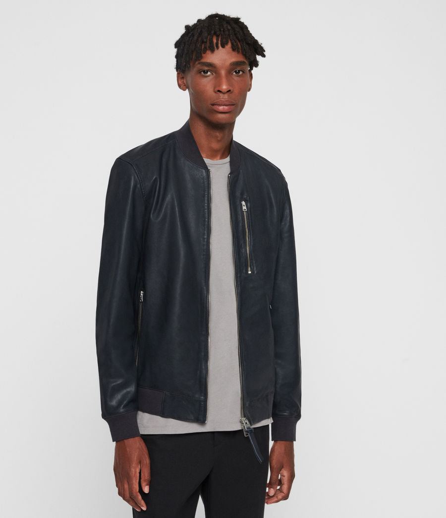 Mens Kino Leather Bomber Jacket (black) - Image 3