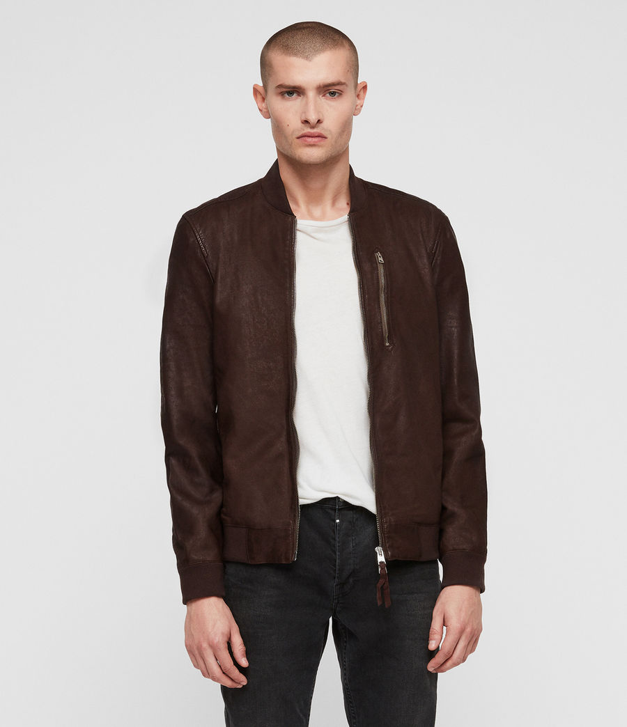 Mens Kino Leather Bomber Jacket (oxblood_red) - Image 1