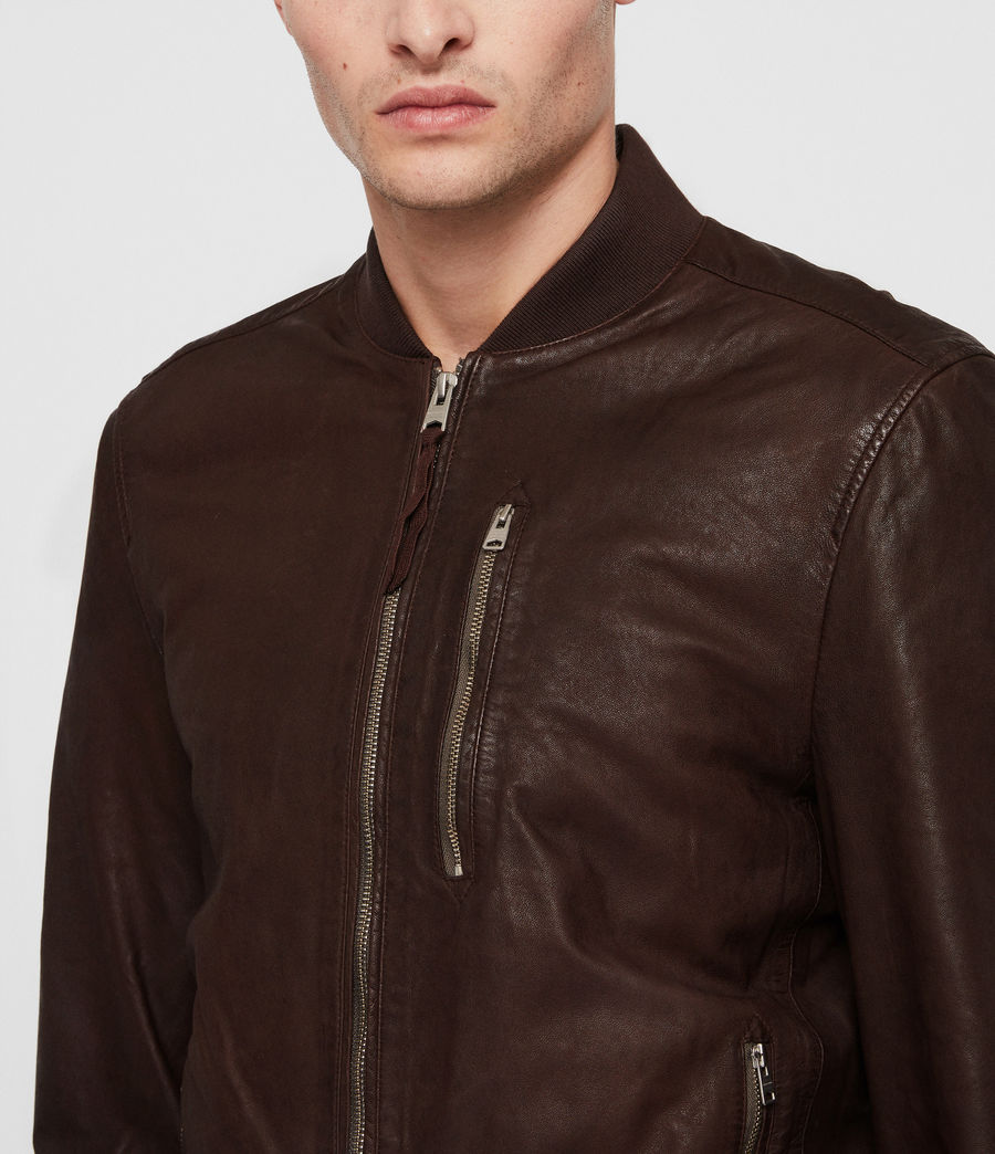 Mens Kino Leather Bomber Jacket (oxblood_red) - Image 2