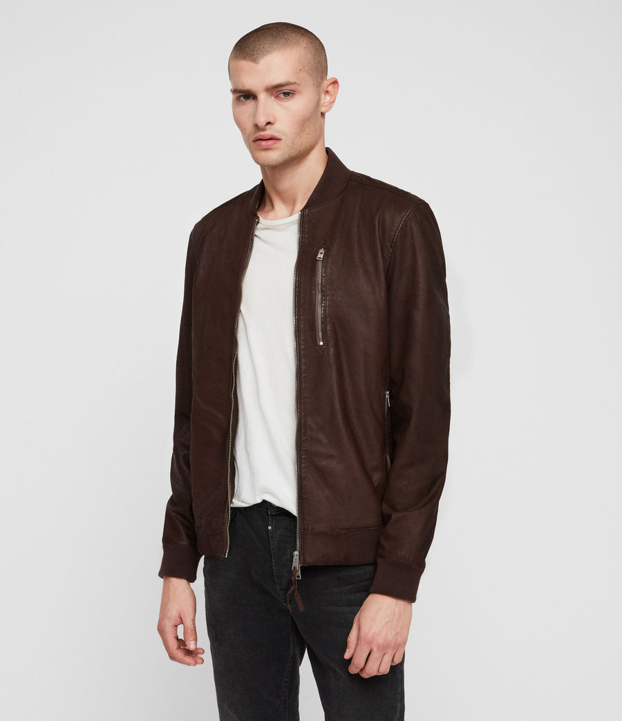 Mens Kino Leather Bomber Jacket (oxblood_red) - Image 4