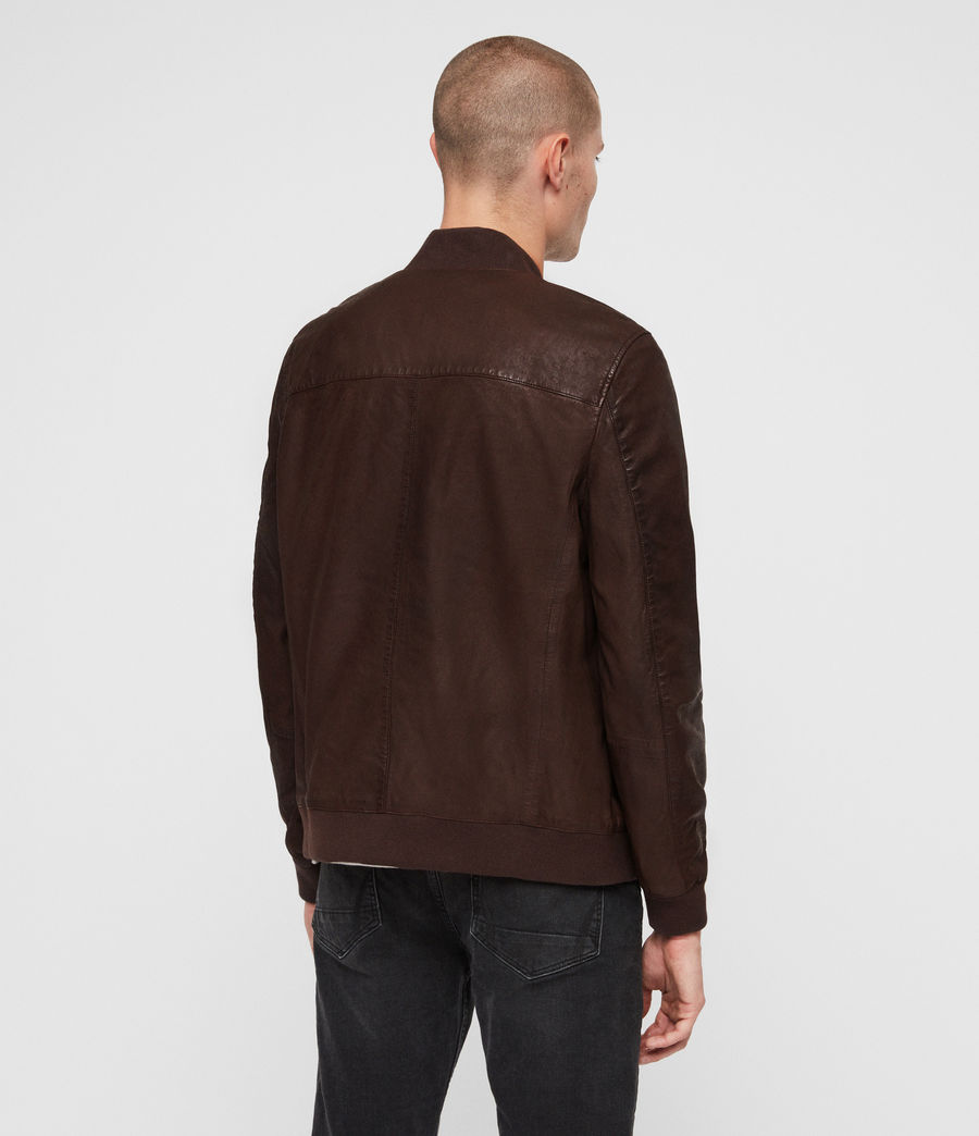 Mens Kino Leather Bomber Jacket (oxblood_red) - Image 5