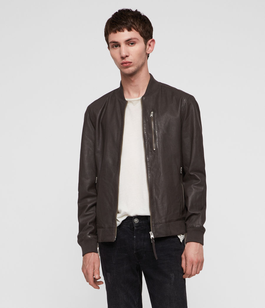 Mens Kino Leather Bomber Jacket (graphite_grey) - Image 1