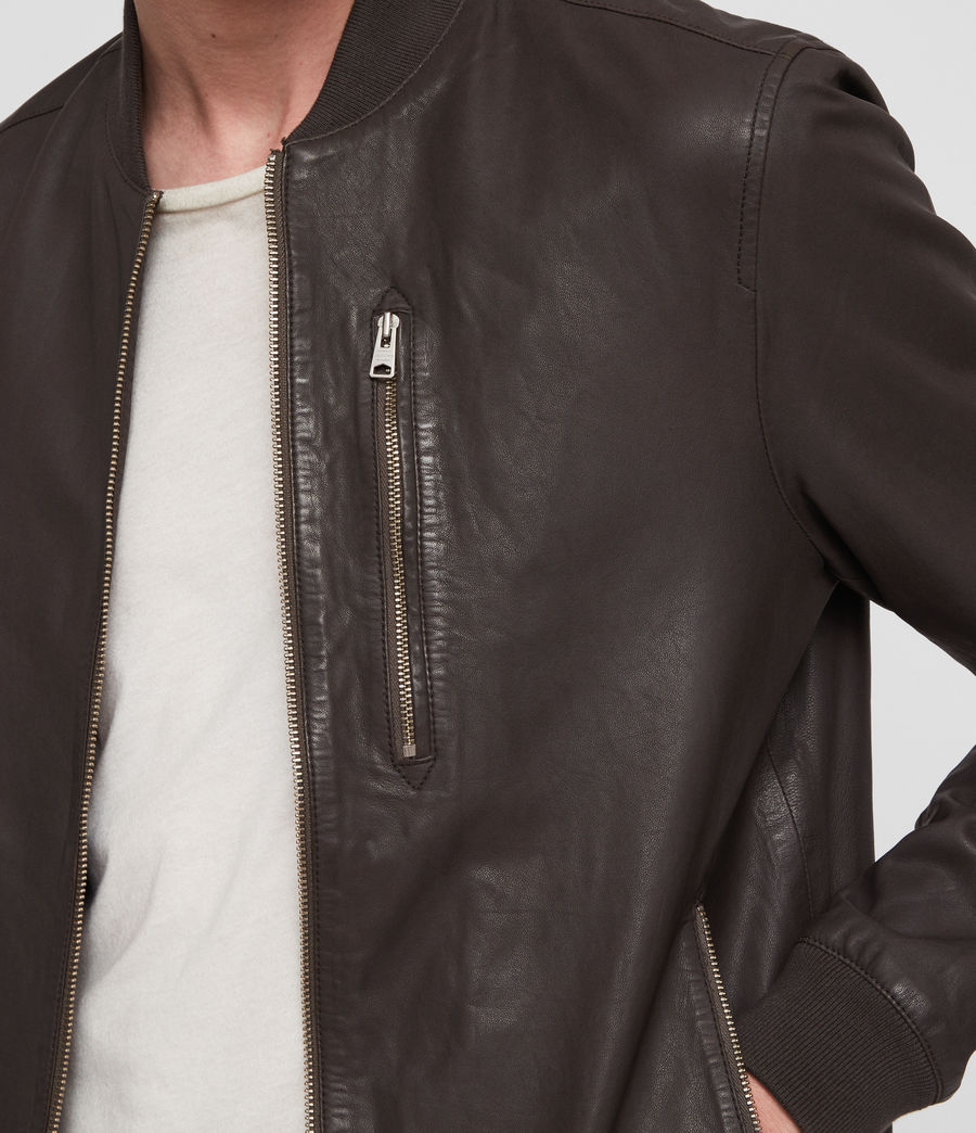 Mens Kino Leather Bomber Jacket (graphite_grey) - Image 2