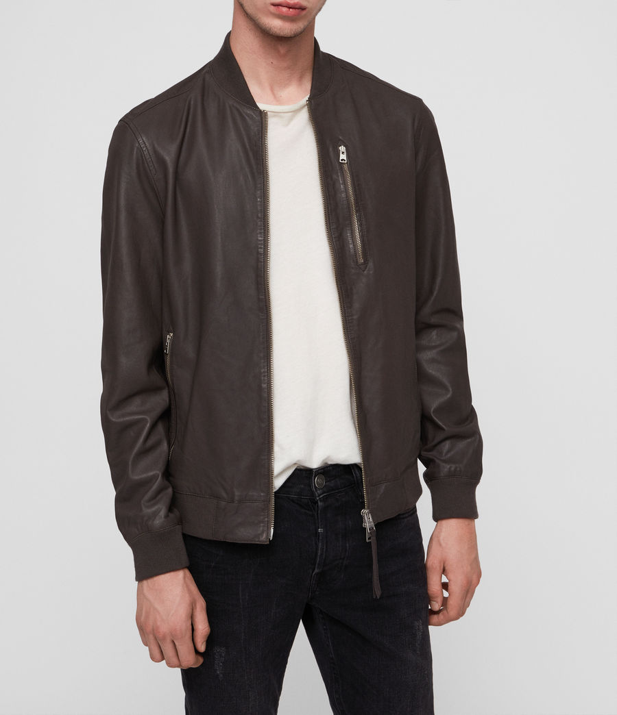 Mens Kino Leather Bomber Jacket (graphite_grey) - Image 3