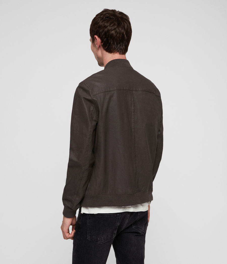 Mens Kino Leather Bomber Jacket (graphite_grey) - Image 4