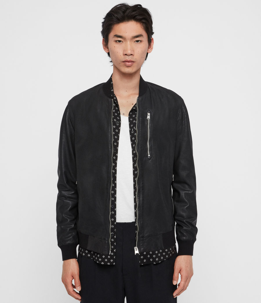 Mens Kino Leather Bomber Jacket (black) - Image 1