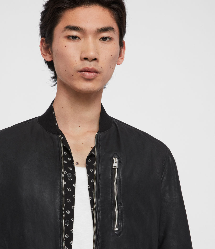 Mens Kino Leather Bomber Jacket (black) - Image 2