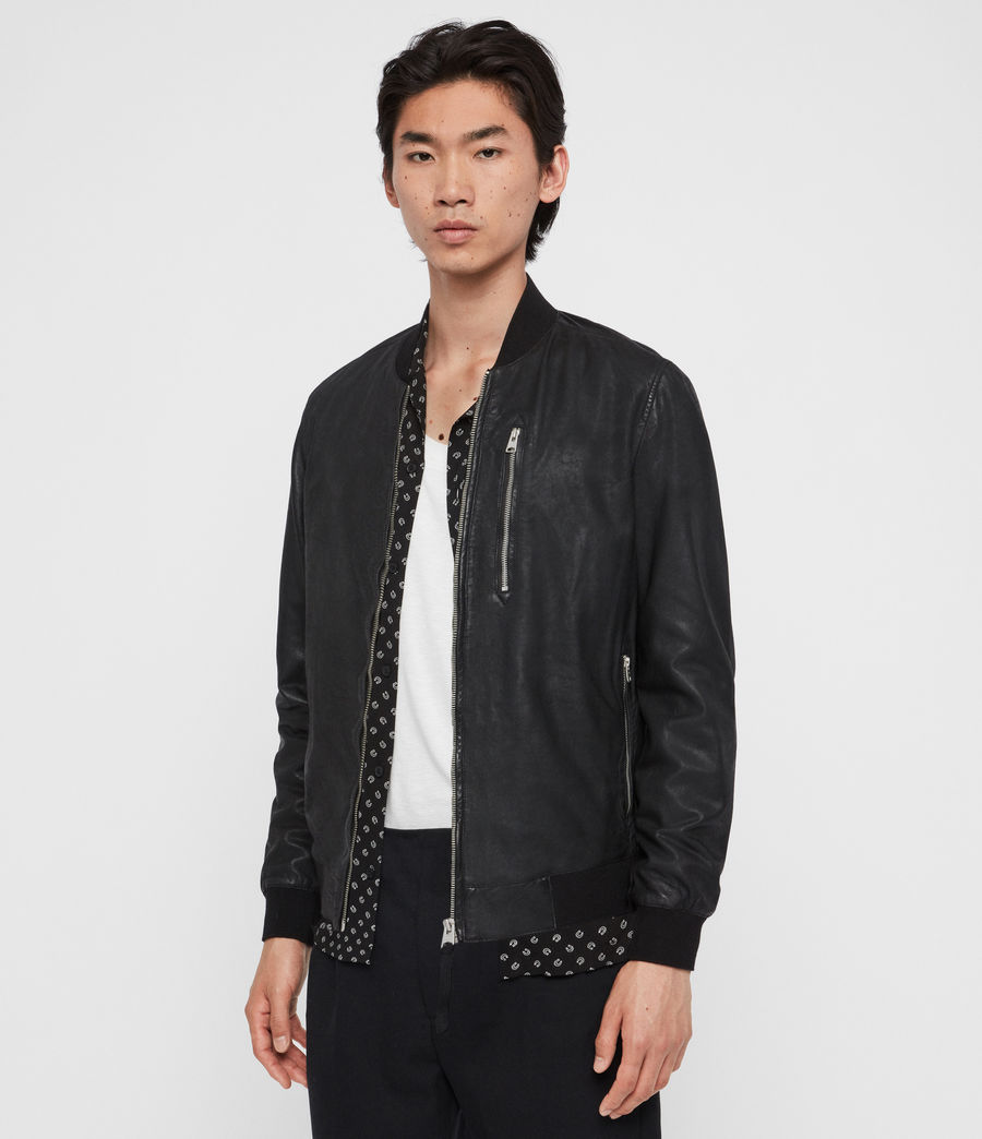 Mens Kino Leather Bomber Jacket (Black) - Image 4
