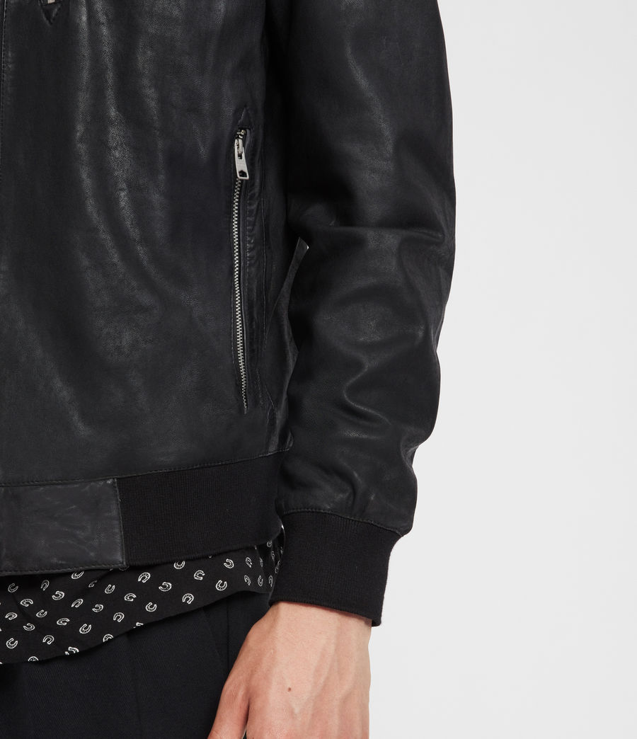 Men's Kino Leather Bomber Jacket (black) - Image 5