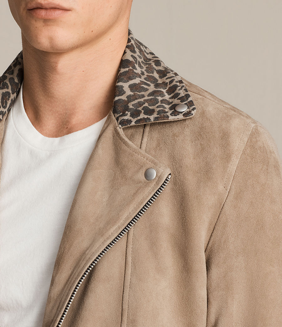 Mens Leo Suede Biker Jacket (sand_brown) - Image 2