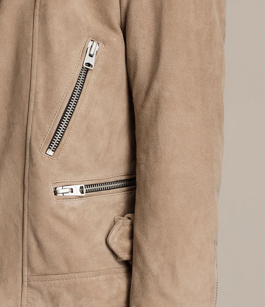 Mens Leo Suede Biker Jacket (sand_brown) - Image 6