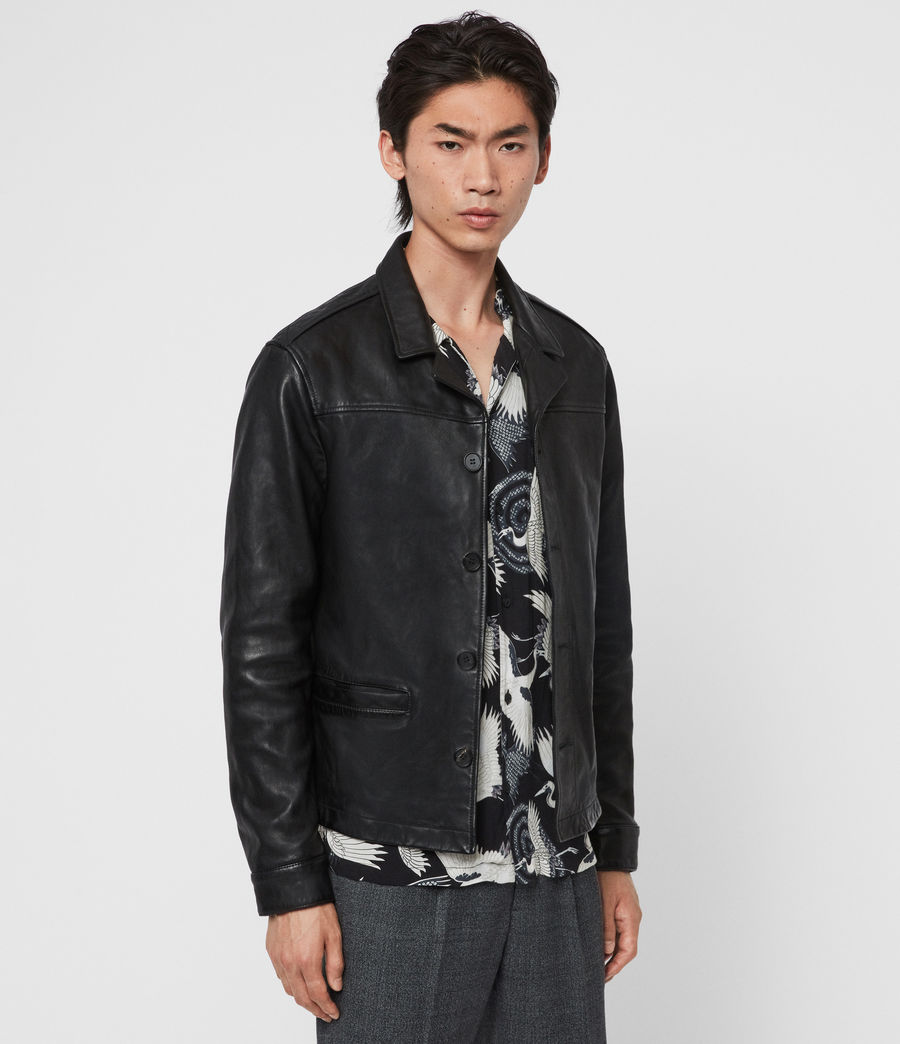 Men's Lyme Leather Jacket (black) - Image 4