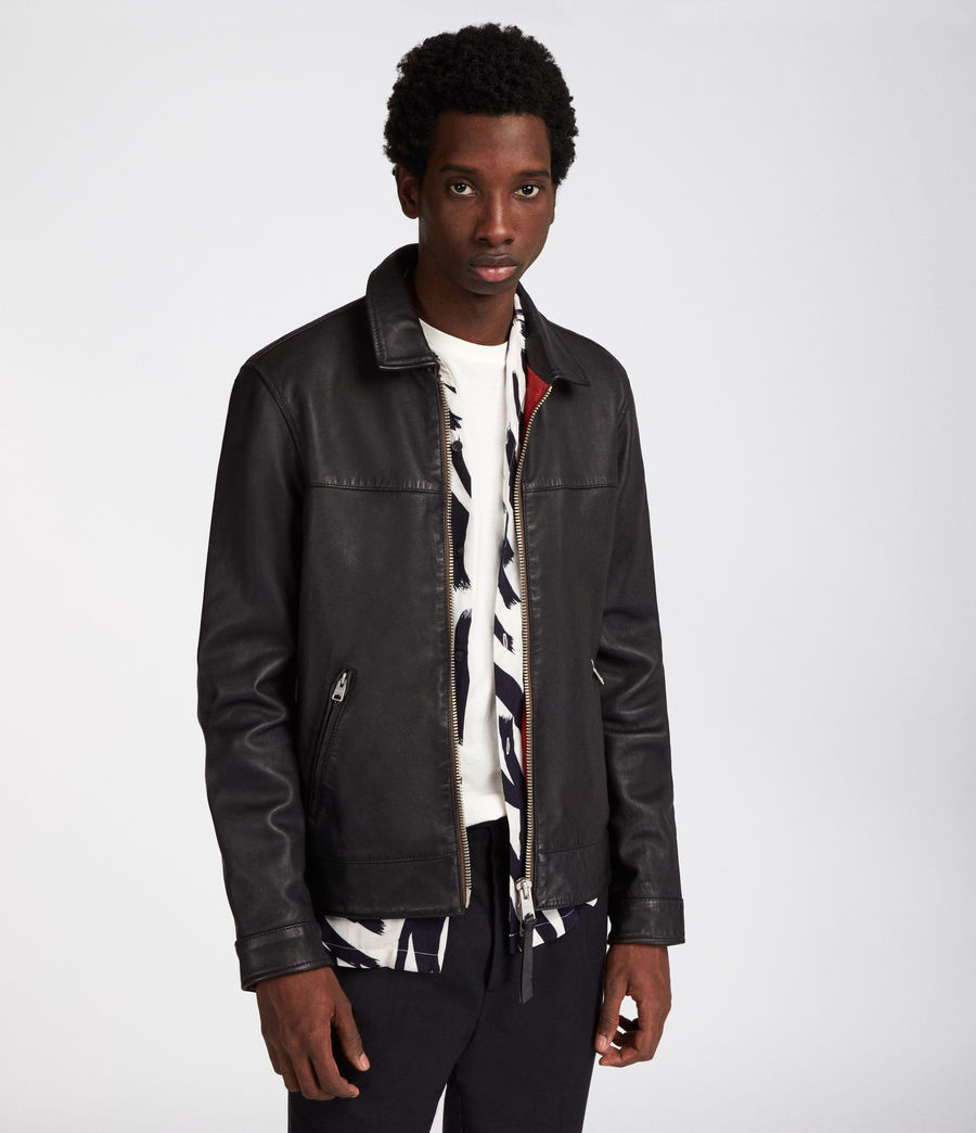 Men's Hayne Leather Jacket (black) - Image 4