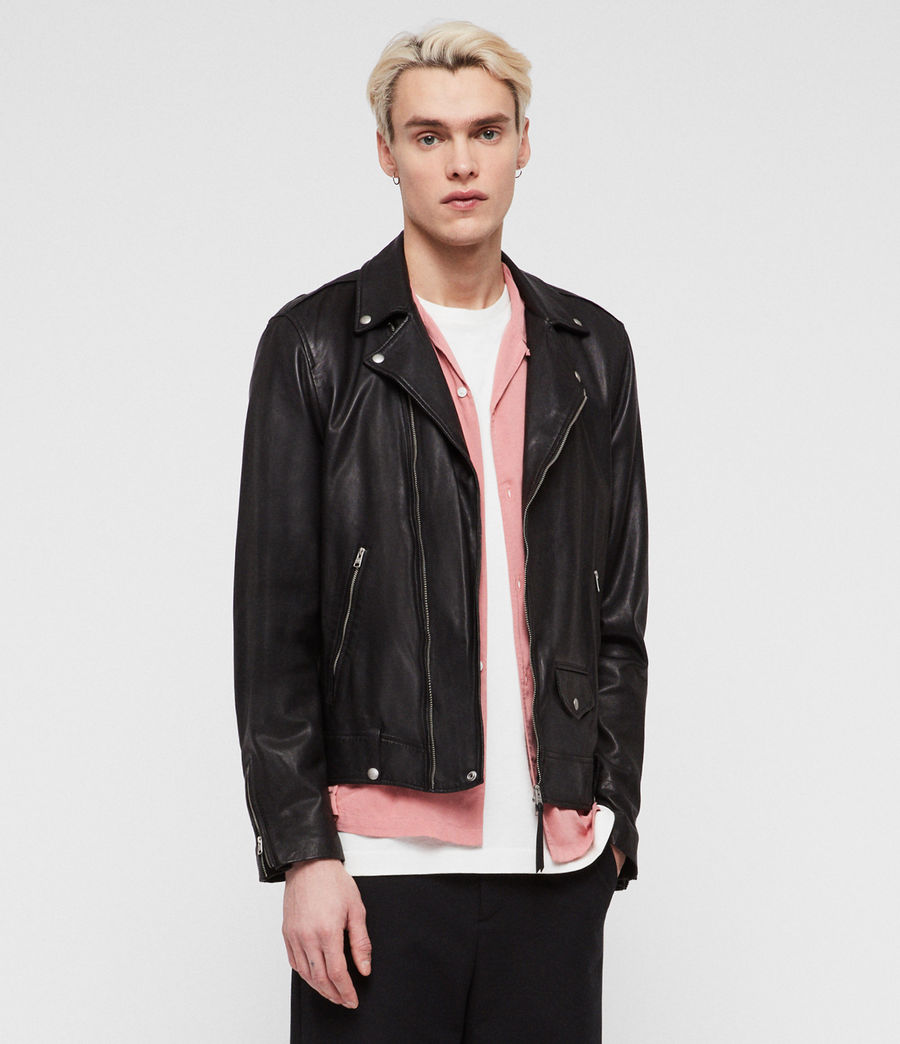 Men's Ace Leather Biker Jacket (black) - Image 1