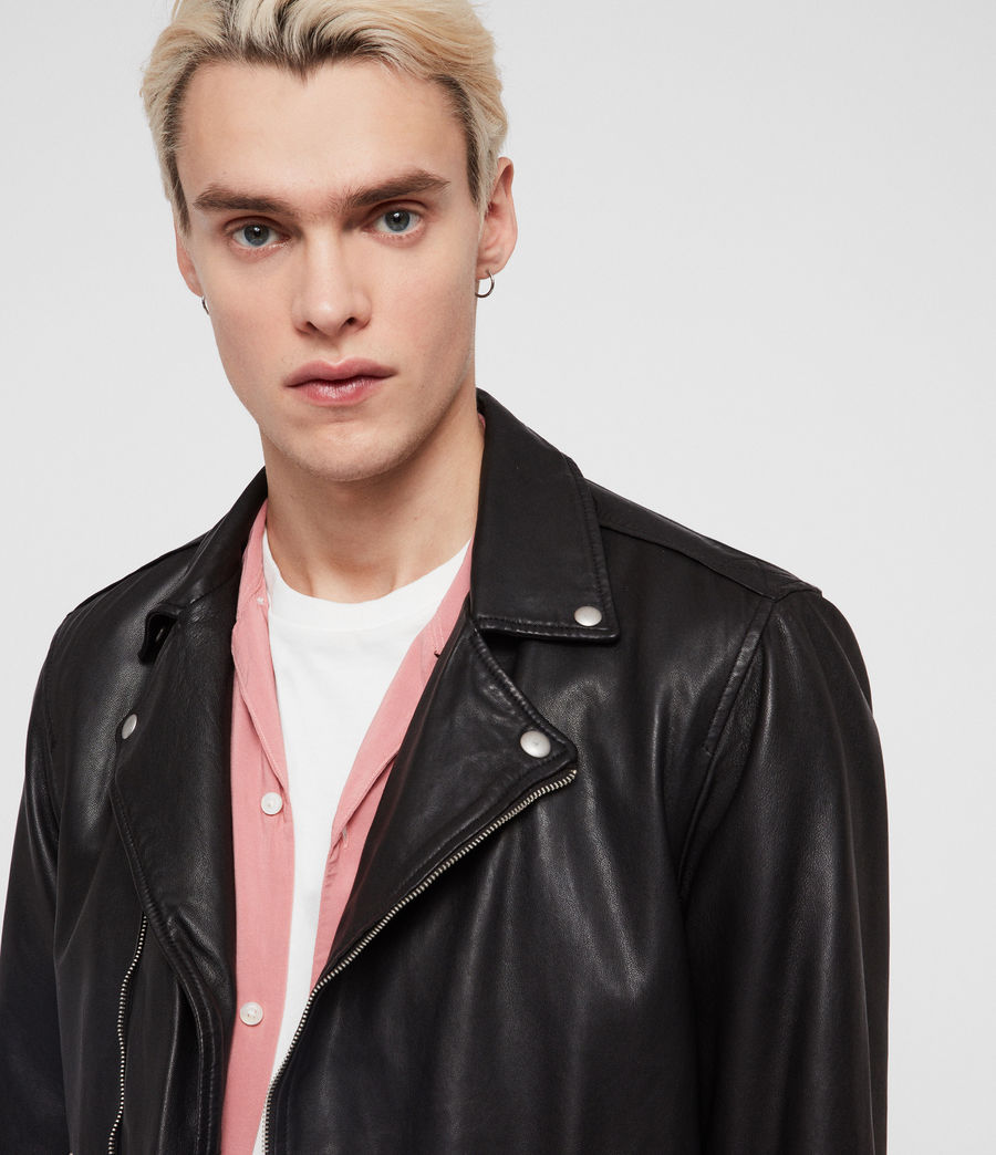 Mens Ace Leather Biker Jacket (black) - Image 2