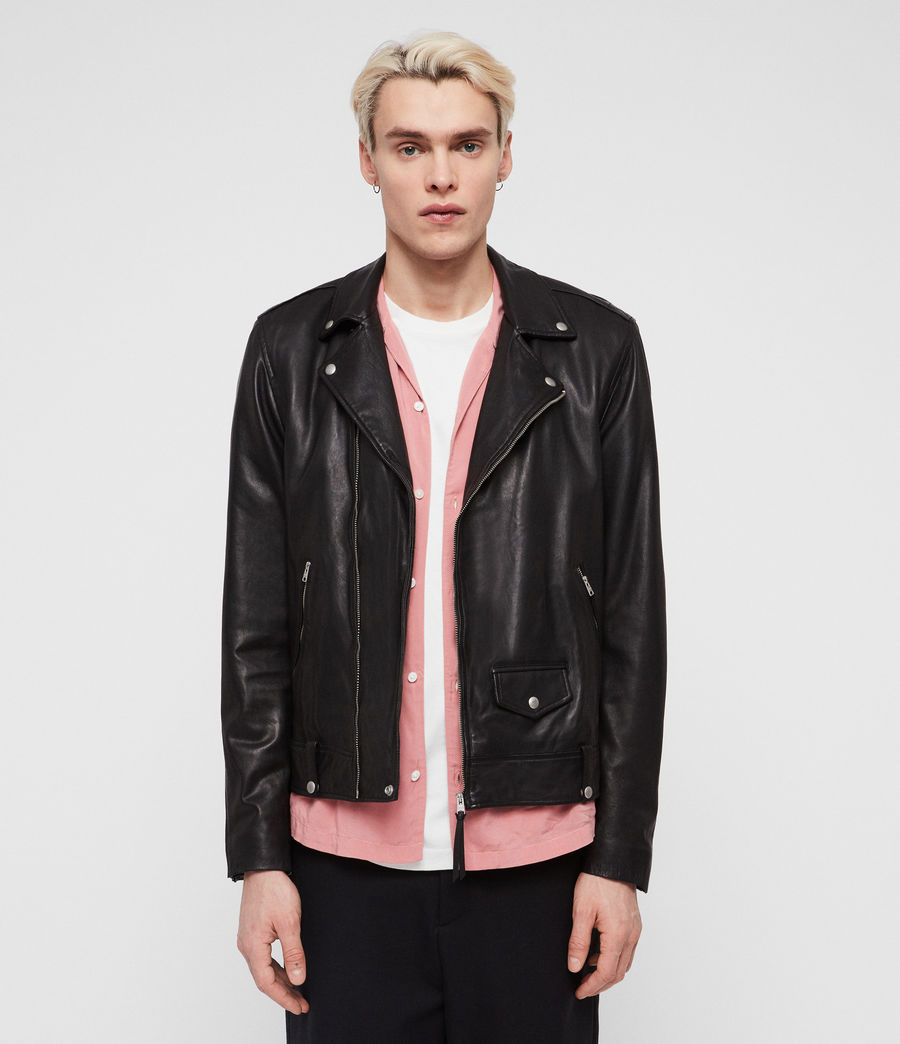 Men's Ace Leather Biker Jacket (black) - Image 4