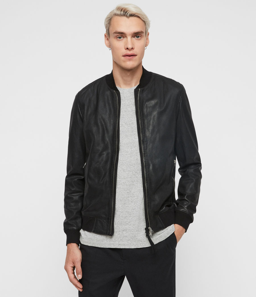 Mens Blythe Leather Bomber Jacket (black) - Image 1
