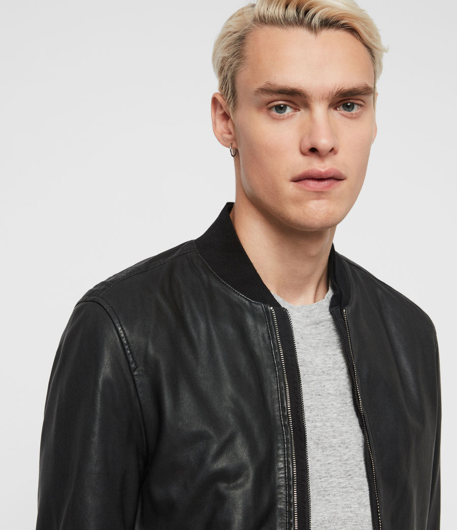 Men's Blythe Leather Bomber Jacket (black) - Image 2