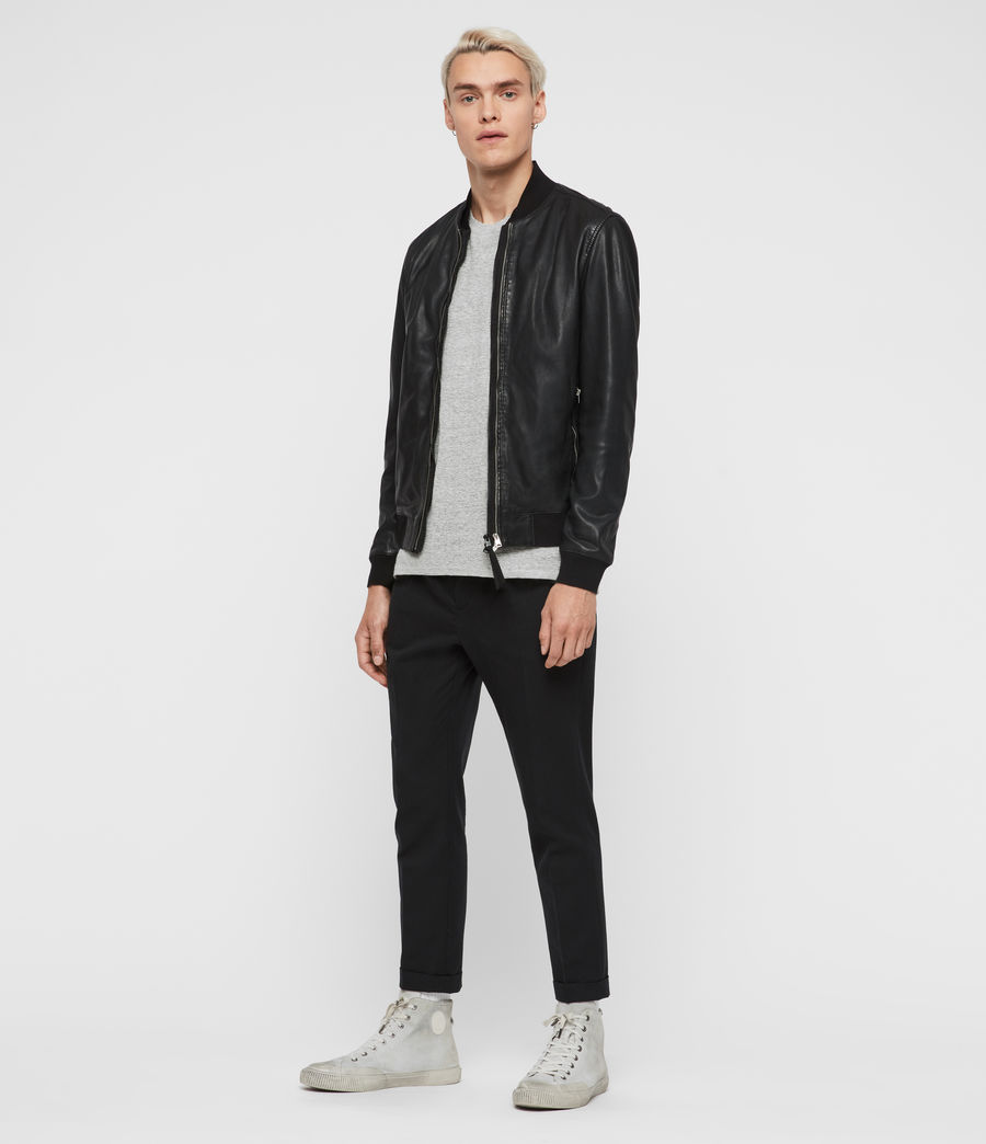 Men's Blythe Leather Bomber Jacket (black) - Image 3
