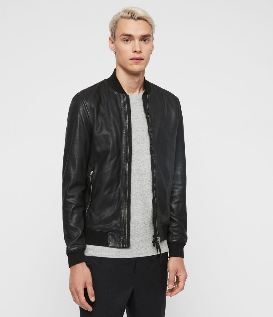 Men's Blythe Leather Bomber Jacket (black) - Image 4