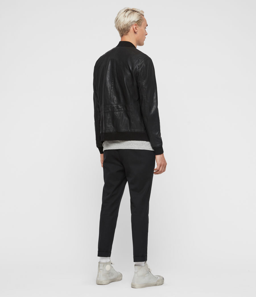 Men's Blythe Leather Bomber Jacket (black) - Image 5